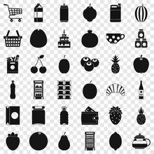 Different Drinks Icons Set. Simple Style Of 36 Different Drinks Vector Icons For Web For Any Design