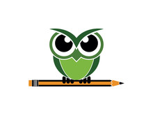 Green Colored Owl And Pencil Vector Illustration