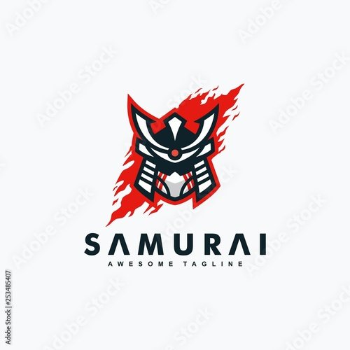 Abstract Samurai concept illustration vector Design template Wallpaper Mural