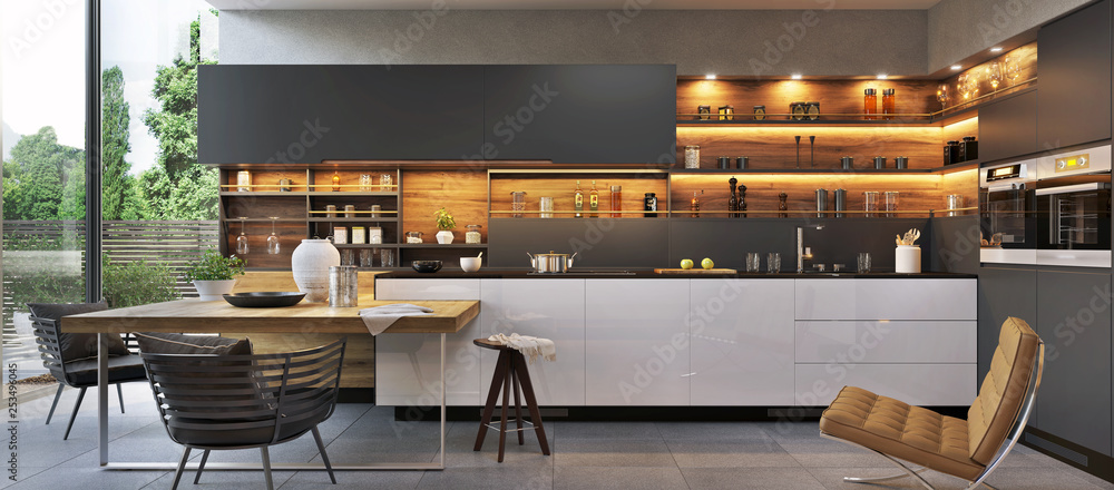 Fototapeta Modern luxury kitchen interior design