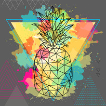 Hipster Polygonal Tropic Fruit Pineapple On Artistic Triangle Watercolor Background
