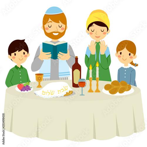 Fotografia, Obraz Jewish family having a Shabbat dinner with a traditional Kiddush