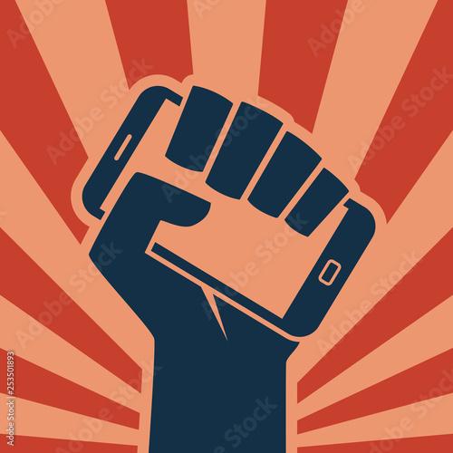 Stampa su Tela Hand smartphone icon digital revolution