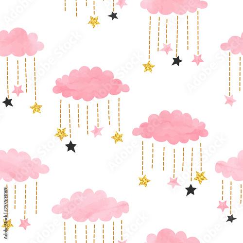 bezszwowe-wektor-rozowy-akwarela-chmury-i-gwiazdy-wzor