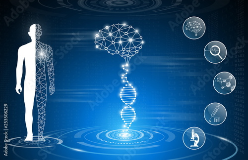 Wallpaper Mural abstract background technology concept in blue light,brain and human body heal ,