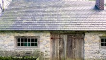 Aerial Stone Building With A Slate Roof At The Herr House Property, A Historical Landmark, Lancaster County PA Concept: National Park Service, Historic Places, Mennonite, Colonial America, Amish