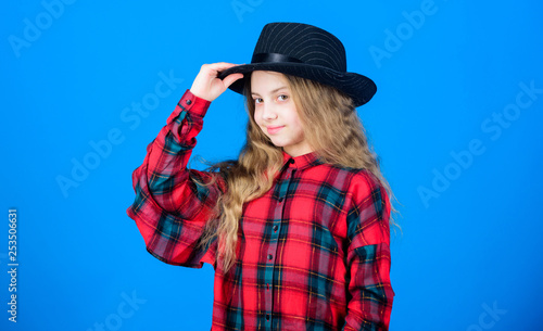 Poster Gypsy Cool cutie fashionable outfit. Happy childhood. Kids fashion concept. Check out my fashion style. Fashion trend. How stylish am i in this hat. Girl cute kid wear fashionable hat. Small fashionista