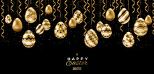 Easter Eggs And Gold Streamers