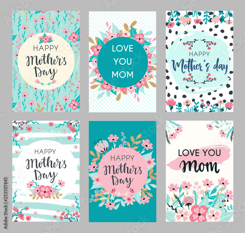 Fotomural Set of Mothers day greeting cards