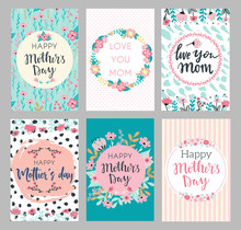 Set Of Mothers Day Greeting Cards. Collection Of Textured Delicate Happy Mother's Day Greeting Cards With Flowers And Wreaths