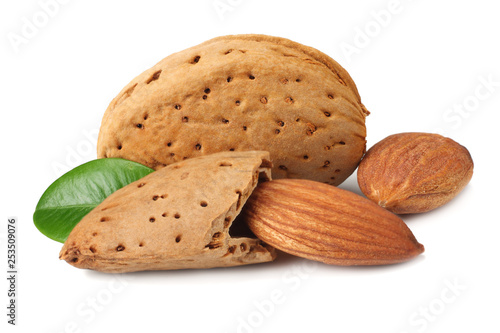 Fotografia, Obraz  almond with green leaves isolated on white background