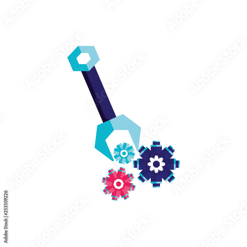 Photo  wrench tool with gears isolated icon
