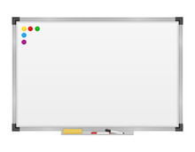 Empty Whiteboard Magnetic Marker For Presentations Training And Education Stock Vector Illustration