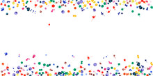 Watercolor Confetti On White Background. Rainbow Colored Blobs Wide Border. Colorful Bright Hand Painted Illustration. Happy Celebration Party Background. Fantastic Vector Illustration.