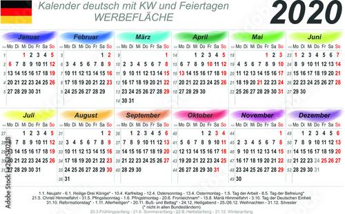 kalender 2020 wasserfarben quer deutsch mit. Black Bedroom Furniture Sets. Home Design Ideas