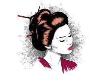 Face Of A Geisha Drawn Like A Comic