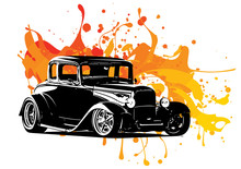 Vintage Car Drawing With Colored Ink Splashes
