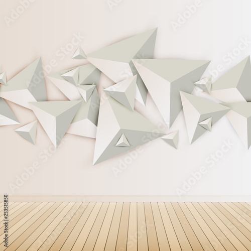 Abstract 3D triangles on light background, vector illustration - 253515850