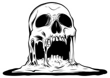Skull That Is Melting Vector D...