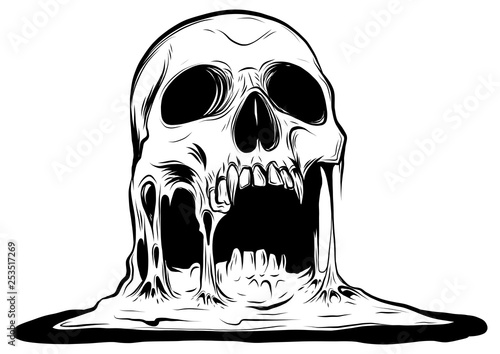 skull that is melting vector drawing illustration Fotobehang