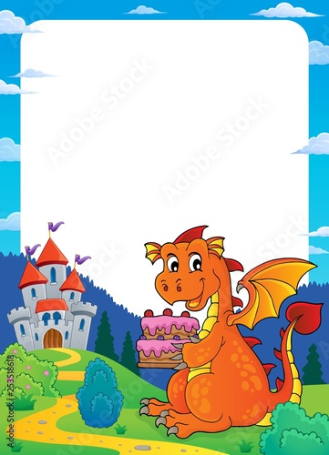 Tuinposter Voor kinderen Dragon holding cake theme frame 2
