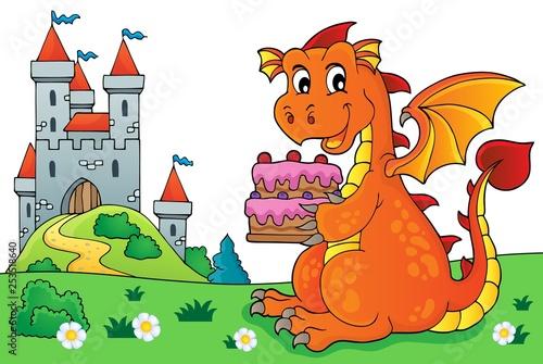 Foto op Aluminium Voor kinderen Dragon holding cake theme image 5