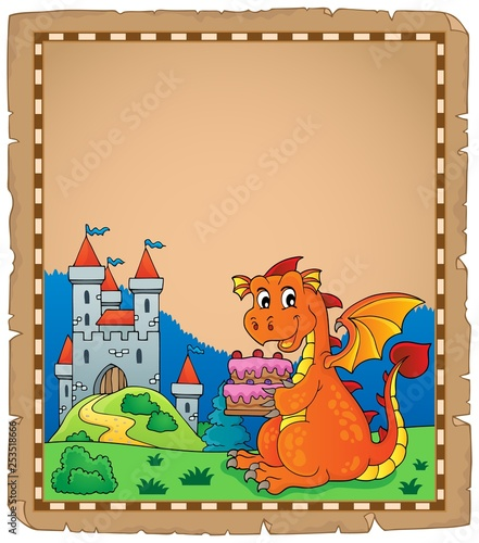 Tuinposter Voor kinderen Dragon holding cake theme parchment 1
