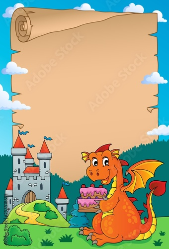 Tuinposter Voor kinderen Dragon holding cake theme parchment 2