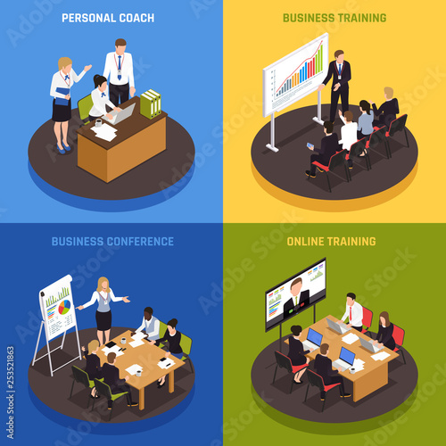 Canvas Prints Textures Business Coaching Isometric Icons Set