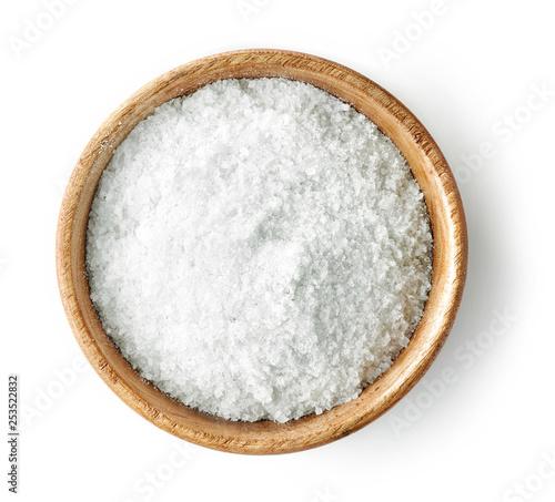 wooden bowl of salt Fotobehang