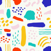 Super Cute Seamless Pattern With Different Brush Strokes. Abstract Vector Background With Ink Shapes.