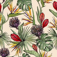 Fototapeta Kwiaty Seamless pattern with tropical plants and colorful exotic flowers. Hand drawn vector on beige background.