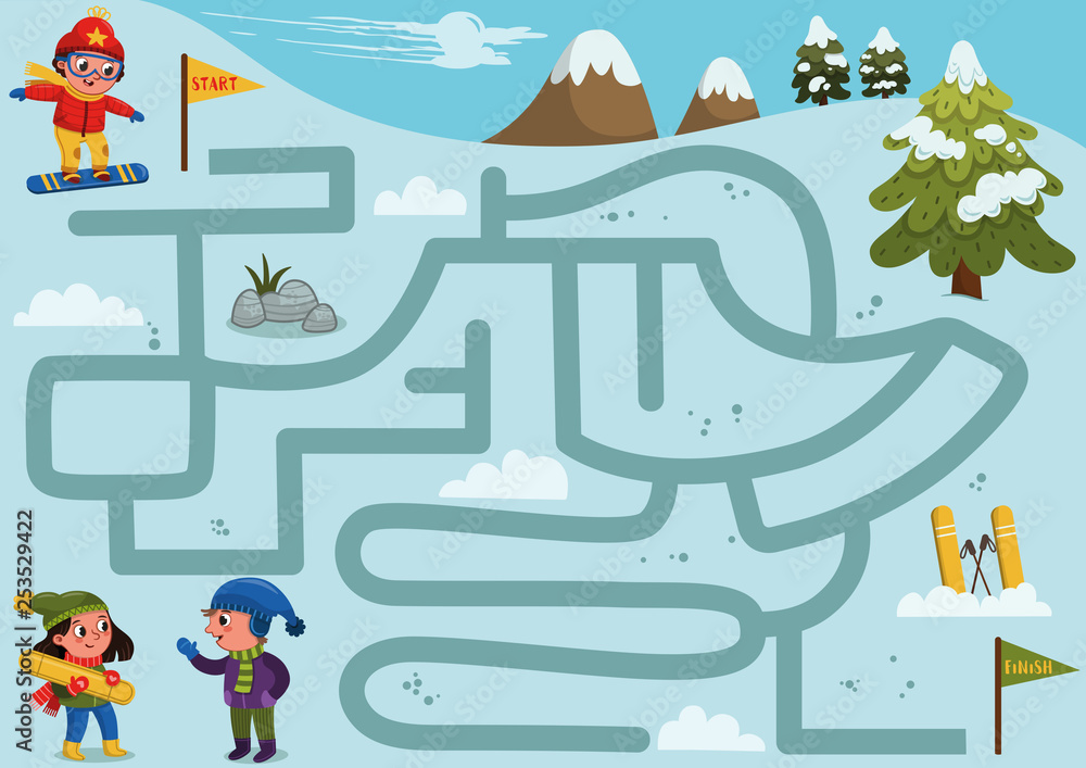 Fototapeta Help the boy to find a correct way down the hill to meet friends. Labyrinth game for kids. Vector illustration.