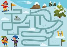 Help The Boy To Find A Correct Way Down The Hill To Meet Friends. Labyrinth Game For Kids. Vector Illustration.