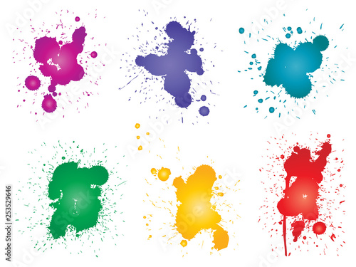 Fotografie, Obraz  Vector collection of artistic grungy paint drop, hand made creative splash or splatter stroke set isolated white background
