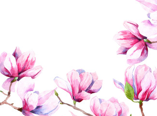 watercolor image of magnolia flowers. Magnolia spring bloom. greeting card and wedding invitation. wreath of flowers