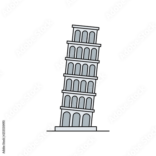 Tower of pisa icon. isolated on white background Fototapete