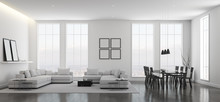 View Of White Living Room In Minimal Style With Black And White Furniture On Dark Laminate Floor.Interior Design With TV And Sofa Set On City Background. 3d Rendering.