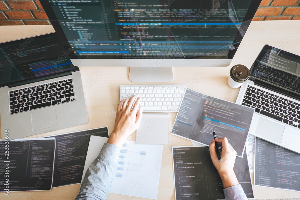 Fototapety, obrazy: Professional Developer programmer working a software website design and coding technology, writing codes and database in company office, Global cyber connection technology