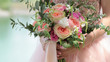 canvas print picture - Beautiful bridal bouquet in hands of the bride. Wedding bouquet of peach roses by David Austin,  single-head pink rose aqua, eucalyptus, ruscus, gypsophila