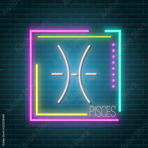 Poster Retro sign pisces neon sign
