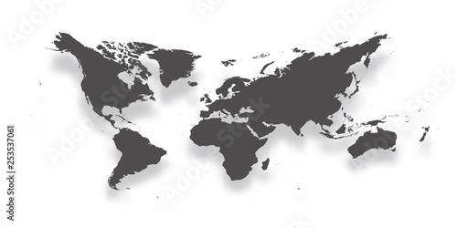 Map of World. Simple dark grey gradient silhouette with dropped shadow isolated on white background. Vector illustration