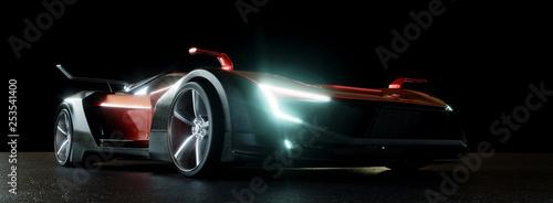 Obrazy motoryzacja  moderner-sportwagen-bei-nacht-mit-led-scheinwerfern