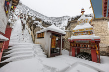 Snow Covered Monastery And Landscape Of Marpha In Lower Mustang