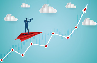 One Businessman standing holding binoculars on a paper plane flying up into the sky while flying above a arrow graph. business finance success. leadership. startup. creative idea. cartoon vector