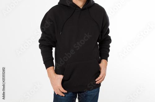 Fotografía  Man posing in black sweatshirt, black hoodies front isolated, mock up cropped im