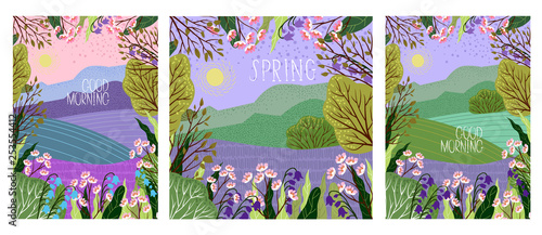 Foto auf Gartenposter Flieder Set of Vector illustration in trendy flat cute style - flowers, trees and nature landscape