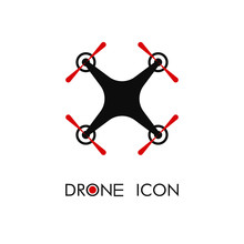 Flat Design Of Aerial Drone With Action Camera. Quadcopter Top View Icon Concept. Isolated Vector Illustration. Logo Template.