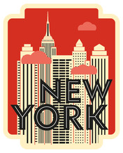 Retro Design Poster New York. Skyscrapers And Clouds. Vector Drawing