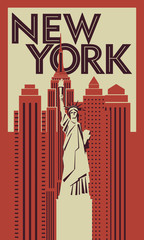Panel Szklany Nowy York Retro poster New York. Statue of Liberty in the background of skyscrapers. Vector drawing